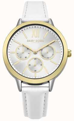 Daisy Dixon Bracelete em couro branco, raio de sol prateado, mostrador em ouro DD055WSG