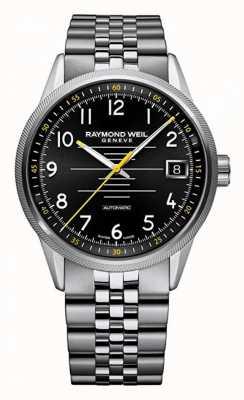 Raymond Weil Mens pulseira de aço inoxidável automático freelancer 2754-ST-05200