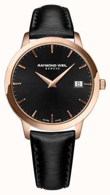 Raymond Weil Mostrador preto pulseira de couro preto das mulheres toccata 5388-PC5-20001