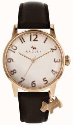 Radley Womans liverpool subiu ouro dial charme cão couro marrom escuro RY2592