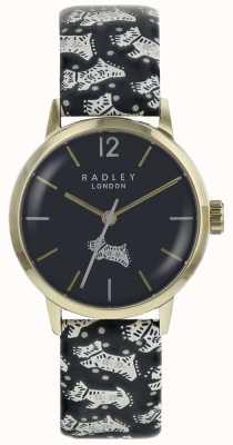 Radley Womans folk dog preto dial ouro pvd caixa de aço inoxidável RY2570