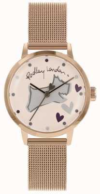 Radley Love lane aço inoxidável rosa pulseira de malha caso de ouro RY4324