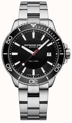 Raymond Weil Mens tango pulseira de aço inoxidável mostrador preto 8260-ST1-20001