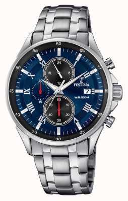 Festina Mostrador de data do cronógrafo mostrador azul pulseira de aço inoxidável F6853/2