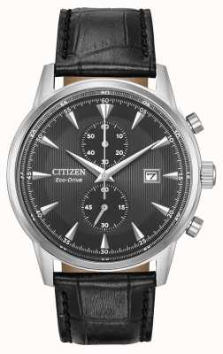 Citizen Mens corso cronógrafo pulseira de couro preto mostrador preto CA7000-04H