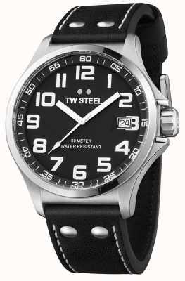 TW Steel Mens piloto pulseira de couro preto mostrador preto TW408