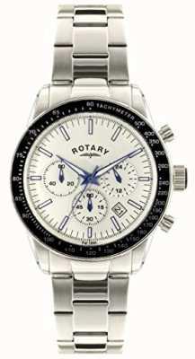 Rotary Mens pulseira de aço inoxidável cronógrafo pulseira branca GB00470/01