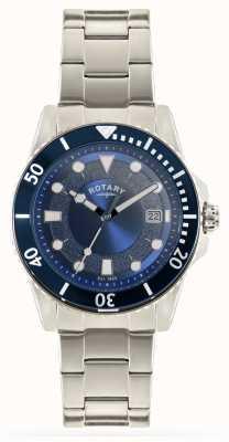 Rotary Mens pulseira de aço inoxidável mostrador azul GB00487/05