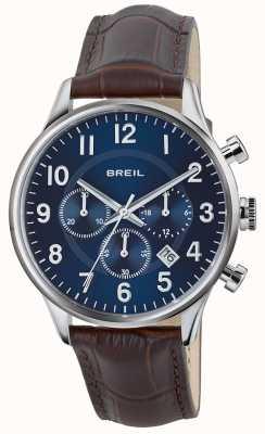 Breil Contempo aço inoxidável cronógrafo mostrador azul pulseira marrom TW1576