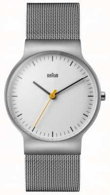 Braun Mens clássico magro pulseira de malha de mostrador branco BN0211WHSLMHG