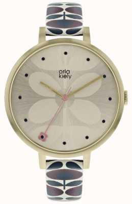 Orla Kiely Womens ivy watch caixa de ouro pálido cinta Borgonha da Marinha OK2190