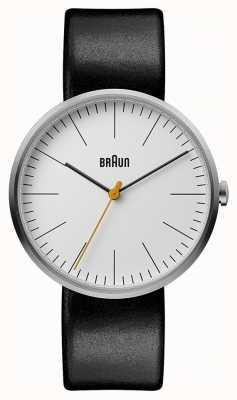 Braun Mens clássico branco mostrador pulseira de couro preto BN0173WHBKG