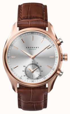 Kronaby 43mm sekel * visto em gq bluetooth rosegold / smartwatch de couro A1000-2746