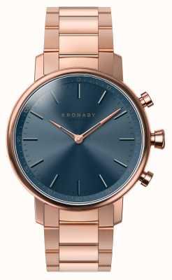 Kronaby 38mm quilate bluetooth rosa pulseira de ouro mostrador azul smartwatch A1000-2445
