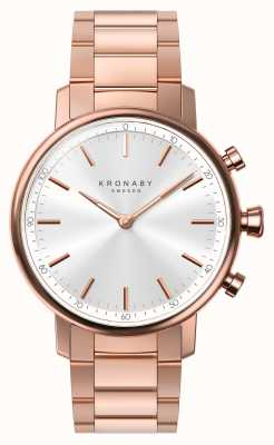 Kronaby 38mm quilate bluetooth rosa ouro pulseira de prata smartwatch A1000-2446