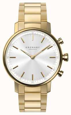 Kronaby 38mm quilates bluetooth pulseira de ouro mostrador de prata smartwatch A1000-2447