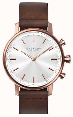 Kronaby 38mm quilate bluetooth subiu pulseira de couro de ouro a1000-1401 S1401/1