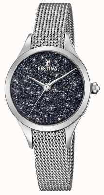 Festina Senhoras relógio com cristais swarovski pulseira de malha F20336/3