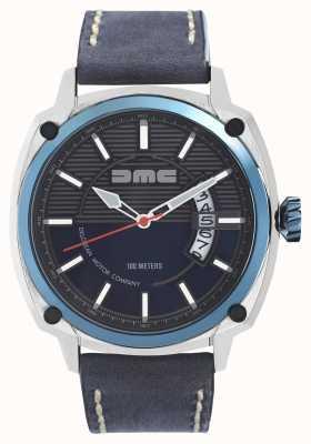 DeLorean Motor Company Watches Alfa dmc azul mens pulseira de couro cinza azul DMC-2