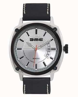 DeLorean Motor Company Watches Alfa dmc prata mens dial prata pulseira de couro preto DMC-3