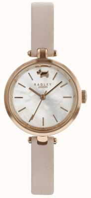 Radley Senhoras 29mm caso discagem branca poeira rosa pulseira de couro RY2654