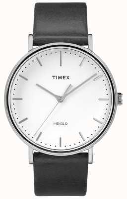 Timex Fairfield 41mm pulseira de couro preto / mostrador branco TW2R26300