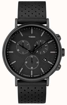 Timex Correia de couro preto Fairfield chrono / mostrador preto TW2R26800