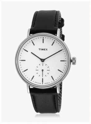 Timex Fairfield sub-segundo caso silvertone mostrador branco pulseira preta TW2R38000