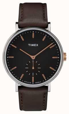 Timex Mostrador Fairfield silvertone mostrador preto e pulseira marrom TW2R38100