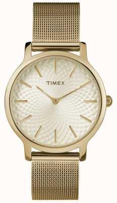 Timex Pulseira de malha de ouro de 34mm / mostrador de ouro TW2R36100
