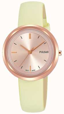 Pulsar Caixa em ouro rosa e pulseira de couro com mostrador PH8394X1