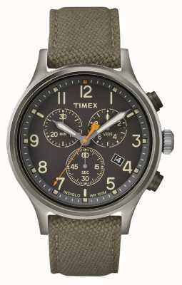 Timex Alça de nylon verde crono aliada / mostrador preto TW2R47200