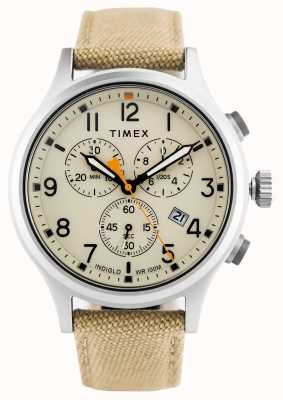 Timex Alça de nylon khaki aliado crono / dial natural TW2R47300