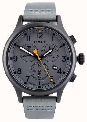 Timex Cinto de couro cinza aliado crono / mostrador cinza TW2R47400