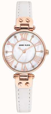 Anne Klein Womens jane assista subiu pulseira de couro caso ouro AK/N2718RGWT