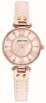 Anne Klein Womens jane assista subiu pulseira de couro caso ouro AK/N2718RGPK