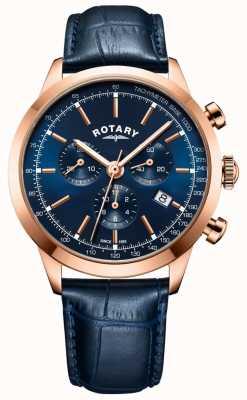 Rotary Relógio de couro azul cronógrafo cambridge masculino GS05257/05