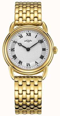 Rotary Canterbury feminino pulseira de ouro mostrador prateado LB05338/21