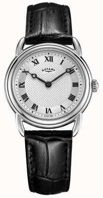 Rotary Womens canterbury pulseira de couro preto de aço inoxidável LS05335/21