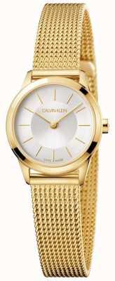 Calvin Klein Ladies pulseira de malha de ouro mínimo mostrador branco K3M23526