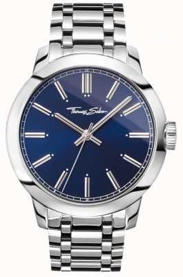 Thomas Sabo Mens rebelde no coração assistir pulseira de aço inoxidável mostrador azul WA0310-201-209-46