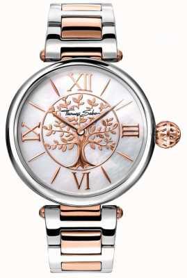 Thomas Sabo Relógio feminino glam e soul karma ouro rosa e prata WA0315-272-213-38