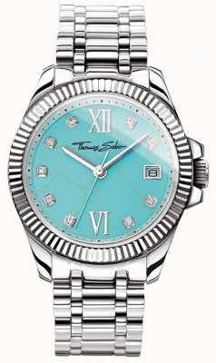 Thomas Sabo Relógio feminino com glamour e alma divina mostrador turquesa WA0317-201-215-33