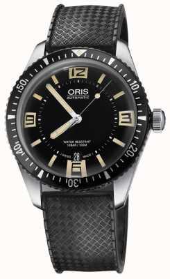Oris Divers sessenta e cinco mostrador preto pulseira de borracha automática 01 733 7707 4064-07 4 20 18