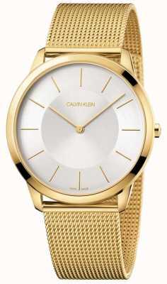 Calvin Klein Mens pulseira de malha de ouro amarelo mínimo relógio de discagem de prata K3M2T526