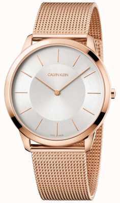 Calvin Klein Mens mínimo subiu de ouro pulseira de malha relógio de discagem de prata K3M2T626