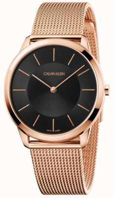 Calvin Klein Mens mínimo subiu de malha de ouro pulseira mostrador preto relógio K3M2162Y