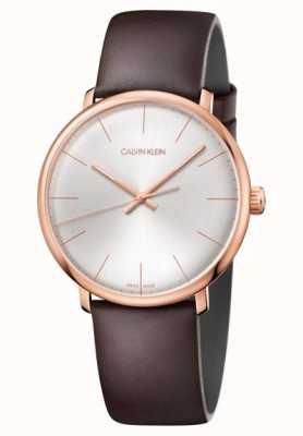 Calvin Klein Mens alta hora de ouro rosa caso pulseira de couro marrom K8M216G6