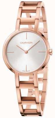 Calvin Klein Senhoras elogios rosa ouro pvd banhado relógio mostrador prateado K8N23646