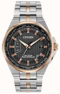 Citizen Mundo masculino perpétuo em aço inoxidável e ouro rosa ip CB0166-54H